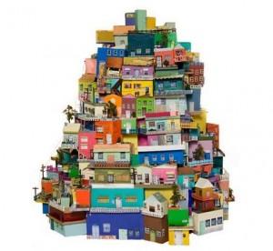 Reciclar cajas de zapatos: pueblo de cartón