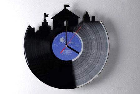 Reutilizar vinilos reloj de pared realizado con un disco for Things to make with old records