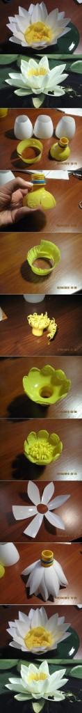 Flores recicladas: como hacer flores de lirios con botellas de plástico
