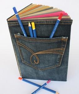 Funda libros de tela reciclada