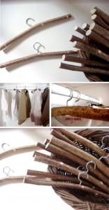 Reutilizar ramas para perchas de madera