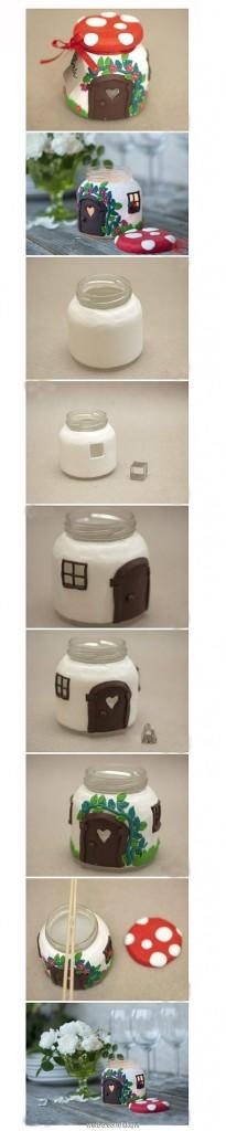 Decorar tarros de cristal de mermeladas en portavelas forma de casa