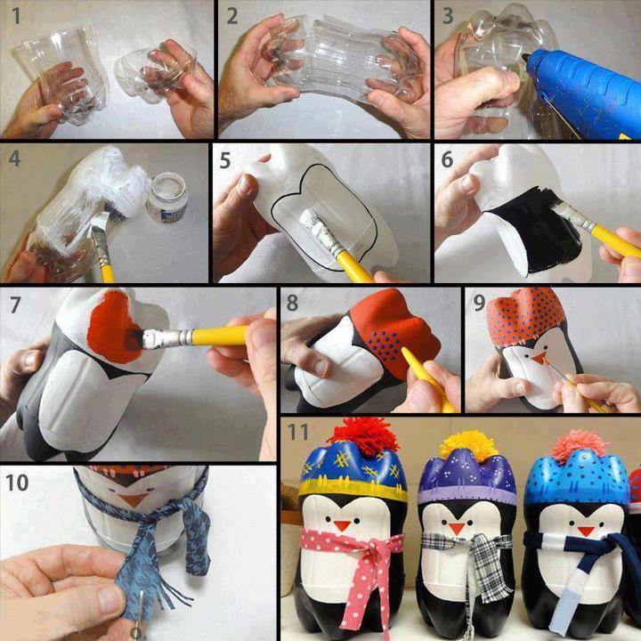 Pingüinos navideños con botellas recicladas