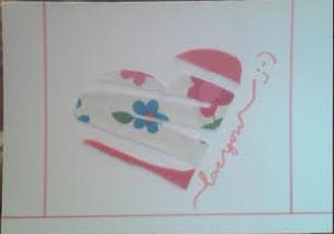 Tarjeta San Valentín con trozos de tela vieja