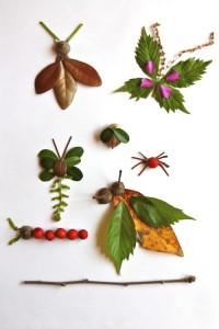 Animales decorativos con hojas de árboles