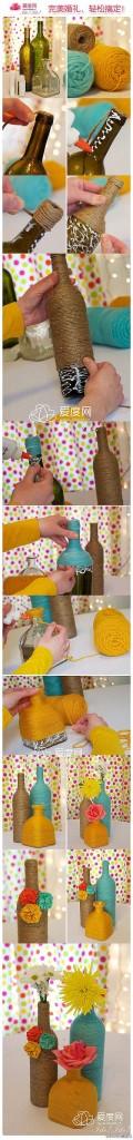 Jarrones originales con botellas de cristal y cuerda de embalaje