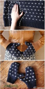 Guantes de lana con jersey reciclado