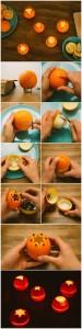 Portavelas con cáscara de naranja