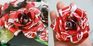 Rosas hechas con latas de coca-cola