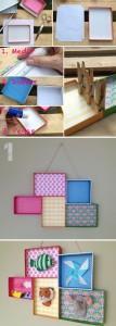 Cuadros con tapas de cajas de cartón