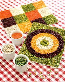 Mosaico con legumbres caducadas