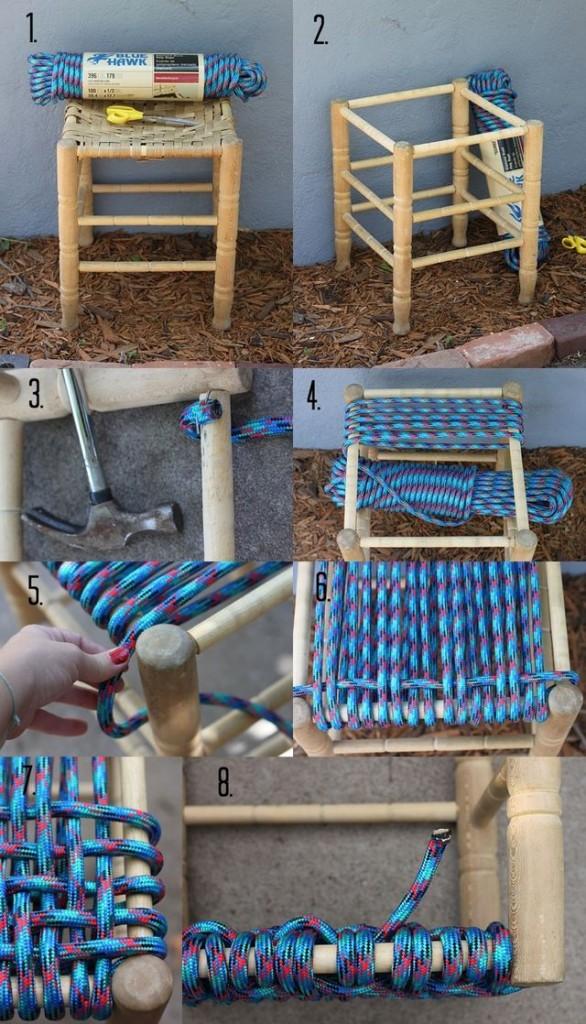 Cómo trasformar un taburete viejo en nuevo con cuerdas