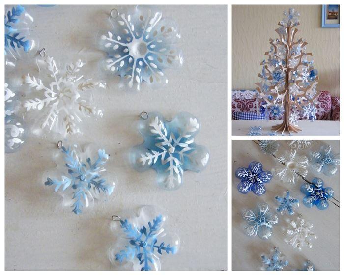 Cómo hacer adornos para árbol con culos de botellas de plástico