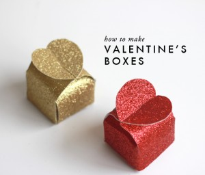 Cajas San Valentin con cartón y purpurina