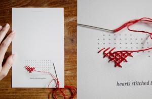 Tarjeta San Valentin con cartón y hilo