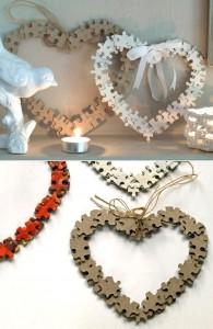 Corazones San Valentín con piezas de puzzle