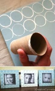 Marco para fotos con tubos de cartón