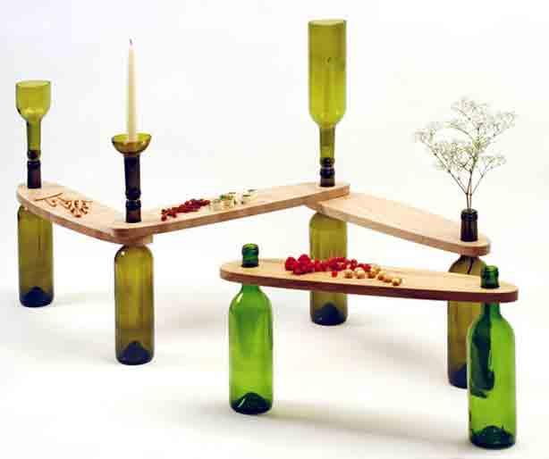 C mo hacer mesa de madera con botellas de vidrio - Productos de madera para manualidades ...