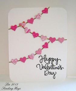 Tarjeta postal San Valentín con retales de tela y cartón
