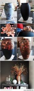 Trasformar jarrón viejo con céntimos de euro