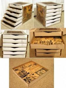Archivador de oficina con cajas de pizza