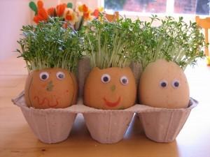 Manualidades Semana Santa: semillero con cáscaras de huevo