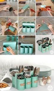 Organizador de cubiertos con latas de conserva
