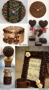 Accesorios de decoración con granos de café