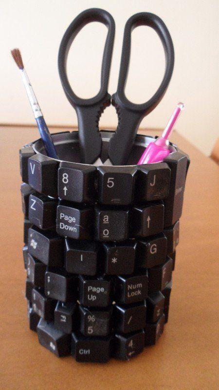 Portal pices originales con teclas de teclado de ordenador - Objetos reciclados para el hogar ...