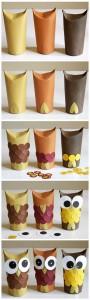 Búhos con tubos de cartón de papel higiénico