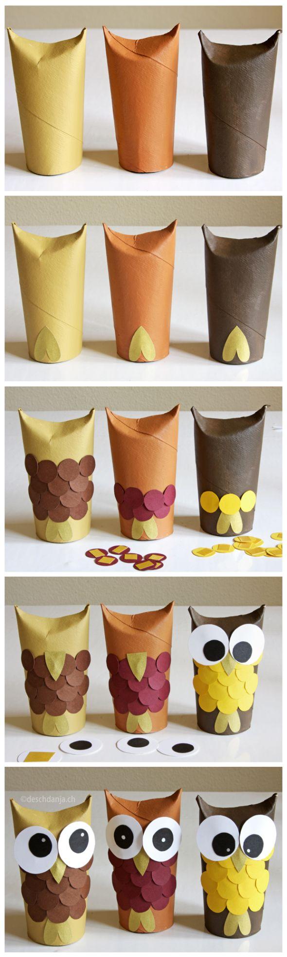 C mo hacer b hos con tubos de cart n de papel higi nico - Manualidades con papel craft ...