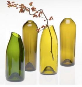 Jarrones de vidrio con cortes de cuello originales