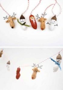 Adornos de Navidad con cáscaras de cacachuetes