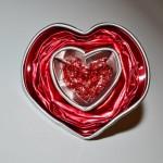 Sortija forma corazón con nespresso cápsulas