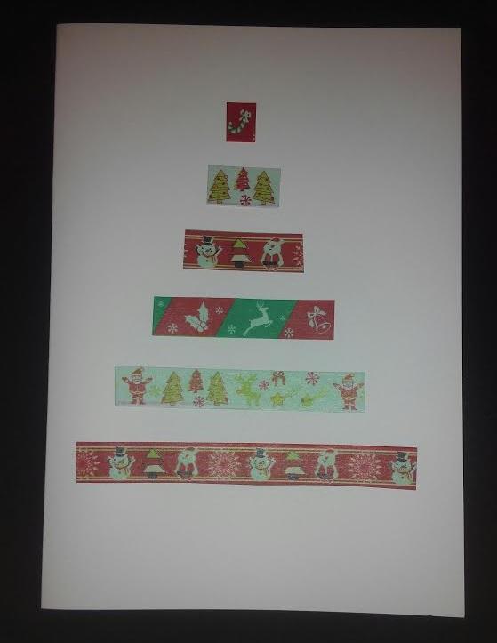 Tarjeta de felicitación navideña decorada con washi  tape