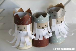 Reyes Magos con tubos de cartón