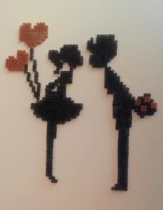 Cuadro pareja San Valentín con hamabeads midi