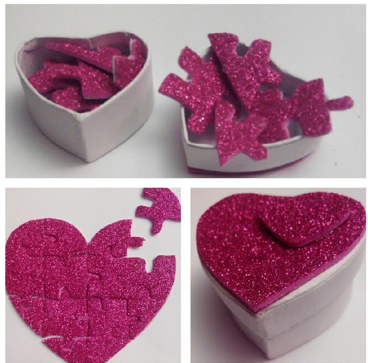 Caja sorpresa para san valentin puzzle de coraz n con goma eva - Manualidades para hacer en san valentin ...