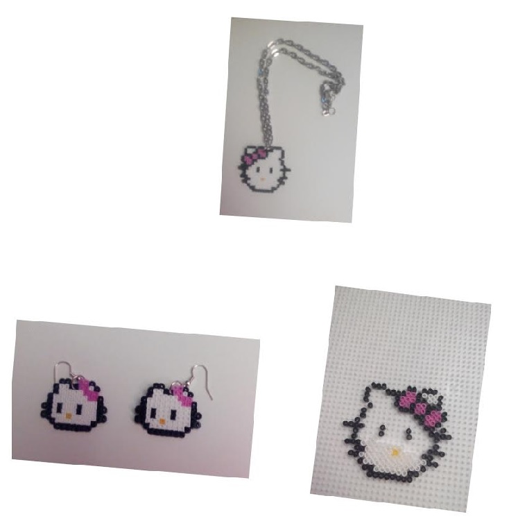 Colgante y pendientes de hello kitty con hama mini