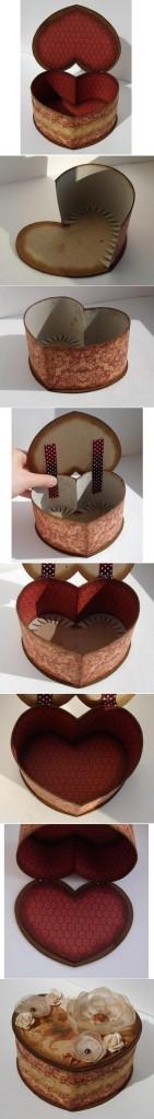 Cómo hacer caja corazón con cartón paso a paso