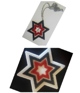 Piezas para el colgante de hama beads forma de estrella con esfinge egipcia