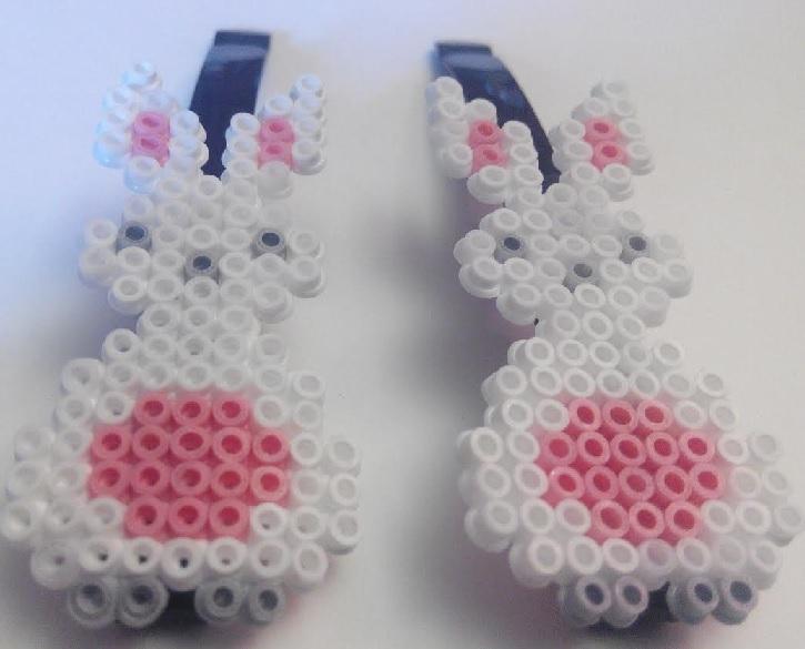 Ganchos para niñas de conejitos con hamabeads