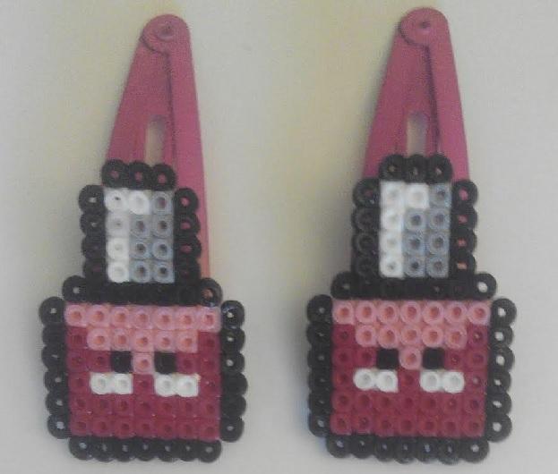 Ganchos de pelo para niñas de botes pintauñas con hama mini