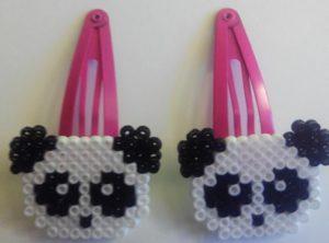 Ganchos para niñas de osos panda con hama mini