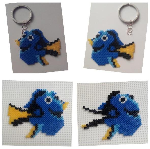 Llavero de Dory con hamabeads mini el pez azul de 'Buscando a Dory'