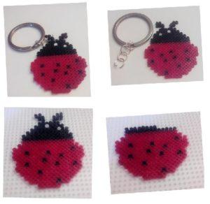 Llavero mariquita de la suerte con hama beads mini
