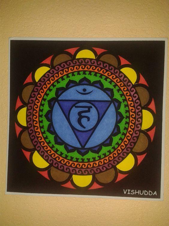 Mandala quinto chakra Vishudda pintado