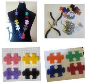 Collar de piezas de puzzle de colores con hama mini