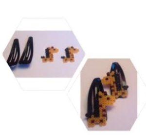 Horquillas de jirafas para niñas con hama beads mini