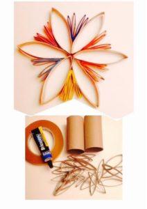 Adorno de flor para árbol de Navidad con tubos de cartón